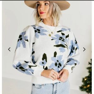 Keely Floral Balloon Puff Sleeve Mock Neck Sweater